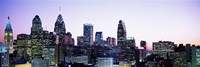 Philadehphia Skyline with Pink and Purple Sky Fine Art Print