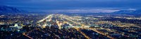 Aerial view of a city lit up at dusk, Salt Lake City, Utah, USA Fine Art Print