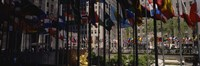 Flags in a row, Rockefeller Plaza, Manhattan, New York City, New York State, USA Fine Art Print