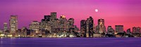 USA, Massachusetts, Boston, View of an urban skyline by the shore at night Fine Art Print