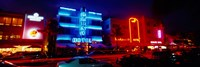 Low Angle View Of A Hotel Lit Up At Night, Miami, Florida, USA Fine Art Print