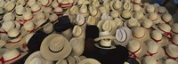 High Angle View Of Hats In A Market Stall, San Francisco El Alto, Guatemala Fine Art Print