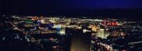 High angle view of a city lit up at night, The Strip, Las Vegas, Nevada, USA Fine Art Print