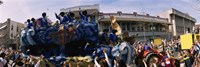Crowd of people cheering a Mardi Gras Parade, New Orleans, Louisiana, USA Fine Art Print