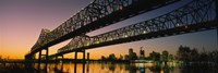 Low angle view of a bridge across a river, New Orleans, Louisiana, USA Fine Art Print