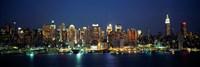 Waterfront View of New York Ciry at Night Fine Art Print