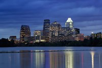 Buildings at the waterfront lit up at dusk, Town Lake, Austin, Texas, USA Fine Art Print