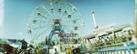 Low angle view of a ferris wheel, Wonder Wheel, Coney Island, Brooklyn, New York City, New York State, USA Fine Art Print