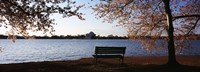 Park bench with a memorial in the background, Jefferson Memorial, Tidal Basin, Potomac River, Washington DC, USA Fine Art Print