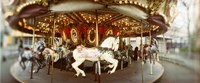 Carousel horses in an amusement park, Seattle Center, Queen Anne Hill, Seattle, Washington State, USA Fine Art Print