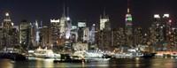 Buildings in a city lit up at night, Hudson River, Midtown Manhattan, Manhattan, New York City, New York State, USA Fine Art Print
