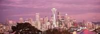 Night view of Seattle, King County, Washington State, USA 2010 Fine Art Print