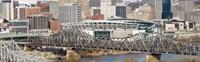 Bridge across a river, Paul Brown Stadium, Cincinnati, Hamilton County, Ohio, USA Fine Art Print