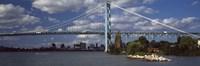 Bridge across a river, Ambassador Bridge, Detroit River, Detroit, Wayne County, Michigan, USA Fine Art Print