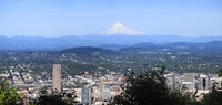 High angle view of a city, Mt Hood, Portland, Oregon, USA 2010 Fine Art Print