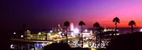 Amusement park lit up at night, Santa Monica Beach, Santa Monica, Los Angeles County, California, USA Fine Art Print