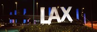 Neon sign at an airport, LAX Airport, City Of Los Angeles, Los Angeles County, California, USA Framed Print