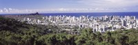 View of Honolulu with the ocean in the background, Oahu, Honolulu County, Hawaii, USA 2010 Fine Art Print
