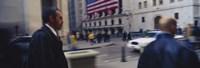 Two people walking, New York Stock Exchange, Wall Street, Times Square, Manhattan, New York City, New York State, USA Fine Art Print