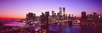USA, New York City, Brooklyn Bridge, twilight Fine Art Print