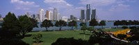 Trees in a park with buildings in the background, Detroit, Wayne County, Michigan, USA Fine Art Print