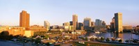 USA, Maryland, Baltimore, High angle view from Federal Hill Parkof Inner Harbor area and skyline Fine Art Print