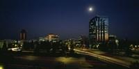 Buildings lit up at night, Sacramento, California, USA Fine Art Print