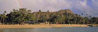 USA, Hawaii, Oahu, Honolulu, Diamond Head St Park, View of a rainbow over a beach resort Fine Art Print
