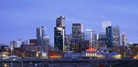 Buildings lit up at dusk, Denver, Colorado Fine Art Print
