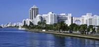 USA, Florida, Miami, Miami Beach, Panoramic view of waterfront and skyline Fine Art Print