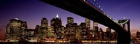 Night Brooklyn Bridge Skyline New York City NY USA Fine Art Print