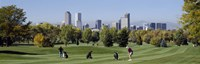 Four people playing golf with buildings in the background, Denver, Colorado, USA Fine Art Print