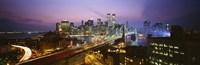 Buildings lit up at night, World Trade Center, Manhattan, New York City, New York State, USA Fine Art Print