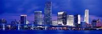 Miami skyline at night, Florida Framed Print