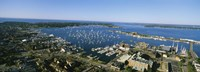 Aerial view of a harbor, Newport Harbor, Newport, Rhode Island, USA Fine Art Print