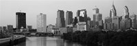 River passing through a city in black and white, Philadelphia, Pennsylvania Fine Art Print