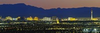 Aerial View Of Buildings Lit Up At Dusk, Las Vegas, Nevada, USA Fine Art Print