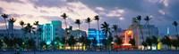 Buildings Lit Up At Dusk, Ocean Drive, Miami Beach, Florida, USA Fine Art Print