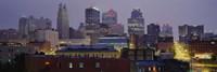 Buildings lit up at dusk, Kansas City, Missouri, USA Fine Art Print