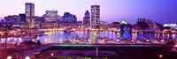 Inner Harbor, Baltimore, Maryland at Night Fine Art Print