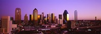 Dallas, Texas Skyline with Purple Sky Fine Art Print