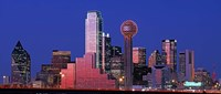 USA, Texas, Dallas, Panoramic view of an urban skyline at night Fine Art Print