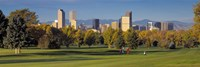 USA, Colorado, Denver, panoramic view of skyscrapers around a golf course Fine Art Print
