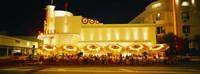 Restaurant lit up at night, Miami, Florida, USA Fine Art Print