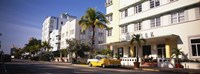 Car parked in front of a hotel, Miami, Florida, USA Fine Art Print