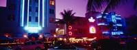 Hotel lit up at night, Miami, Florida, USA Fine Art Print