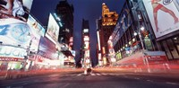Low angle view of sign boards lit up at night, Times Square, New York City, New York, USA Fine Art Print
