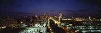 High Angle View Of A City Lit Up At Dusk, St. Louis, Missouri, USA Fine Art Print