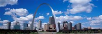 Metal arch in front of buildings, Gateway Arch, St. Louis, Missouri, USA Fine Art Print