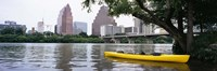 Yellow kayak in a reservoir, Lady Bird Lake, Colorado River, Austin, Travis County, Texas, USA Fine Art Print